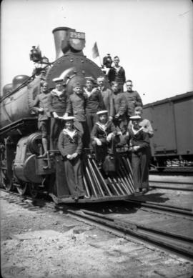 Group on C.P.R. engine at Kenora