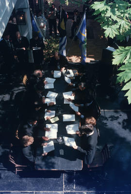 View from above of reenactment of Vancouver's first City Council meeting at 12 Water Street