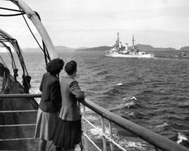 [Warship viewed from Coastal Steamer in] Queen Charlotte Strait B.C.