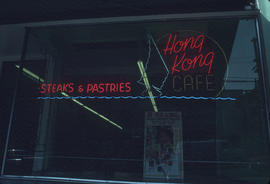 Hong Kong Café neon sign in window, East Pender Street