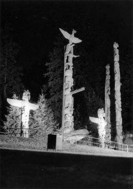 Night photograph of Totem Poles