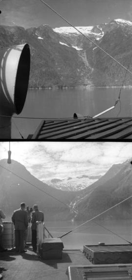 [Two views of glaciers in Alaska taken from a USS boat]