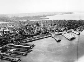 [Aerial view of Vancouver looking south from Burrard Inlet]