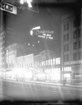 [Illuminated sign for Cascade Beer, located on top of Regent Hotel on East Hastings Street]
