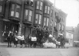 [Decorated Red Cross Brewery carts in the 400 block Cordova Street - north side]
