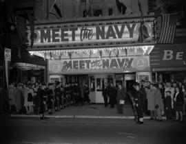 Sea cadet guards lined up in front of the Orpheum Theatre to keep crowds away from the entrance f...