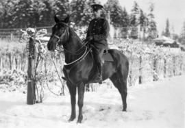 Snow scene [Vancouver mounted policeman]