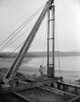[Hoist on beach near] Sandspit [on the] Queen Charlotte Islands