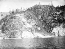 [Partially cleared site of the Buntzen Lake Power Plant number two, viewed from Indian Arm]