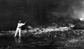 [H.K. Wright fishing in Princess Louisa Inlet]