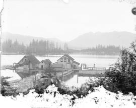 [Vancouver Rowing Club clubhouse and dock, in Coal Harbour at the foot of Bute Street]