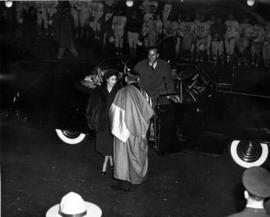 Princess Elizabeth and Prince Philip being greeted upon arrival at U.B.C. Stadium
