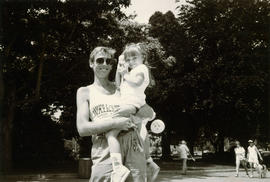 Man and child at 10 K walk for P.W.A. (Persons with AIDS)