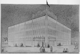 [Photograph of drawing for proposed Vancouver Motors Ltd. building]
