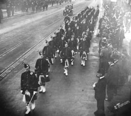 [Seaforth Highlanders Cadet Battalion No. 72 church parade on Granville Street crossing Georgia S...