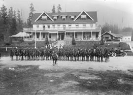 B.C. horse at Capilano [mounted horsemen in front of Canyon View Hotel - North Vancouver]