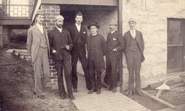 "[The ""Ward McAllister Coterie"" outside the smallpox quarantine at the new City Hospital..."