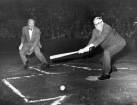 [Mayor Fred J. Hume and Alderman Earle G. Adams playing baseball]