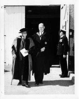 Christopher Spencer leaving the U.B.C. Armories after receiving an honorary degree