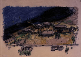 Sketch of Habitat Forum site and buildings