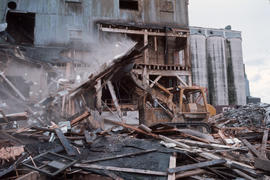 Demolition of a BC Sugar building