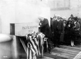 [Samuel Hill laying the corner stone at the Peace Arch dedication]