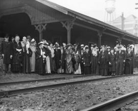 [A group of pioneers at the Heatley Avenue Station for the arrival of C.P.R. locomotive No. 374]