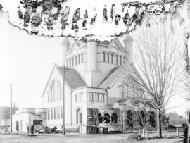 [Wesley Methodist Church under construction at the south west corner of Georgia and Burrard Streets]