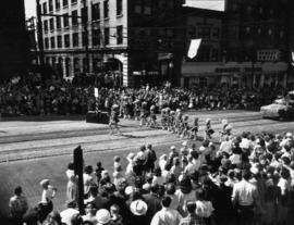 Girls' marching band in 1952 P.N.E. Opening Day Parade