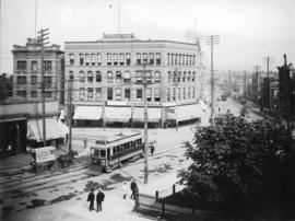 Hastings at Cambie [showing streetcar, Woodward's cart, and corner of the Court House garden]