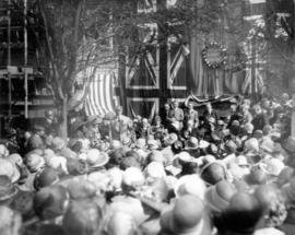 [Lt. Gov. R. Randolph Bruce, Mayor L.D. Taylor and crowd at cornerstone ceremony for the Vancouve...