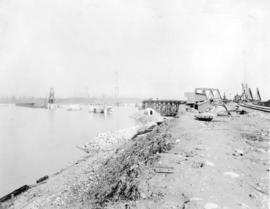 Second Narrows Bridge, 6th March 1925. Shewing [sic] stage of construction just prior to placing ...