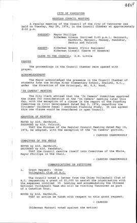 Council Meeting Minutes : May 28, 1974