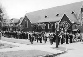 [Veterans church parade in front of St. Paul's Church - 1130 Jervis Street]