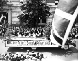 "[Union Steamship's Parade Float: ""Healthy People Build a Prosperous Nation - Union Steamship..."