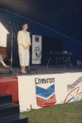 Unidentified woman on Chevron Stage at Scandinavian Festival