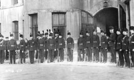 6th [Regiment, The Duke of Connaught's Own Rifles mingle outside the Beatty Street Drill Hall]