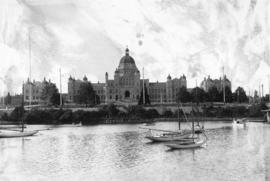 [View of the Legislature Buildings from across the harbour]