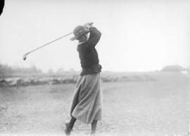[Mrs. D.S. Montgomery teeing off at the Jericho Country Club golf course]