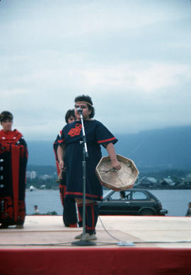 Heritage Day celebrations at Stanley Park, with First Nations drummer on stage