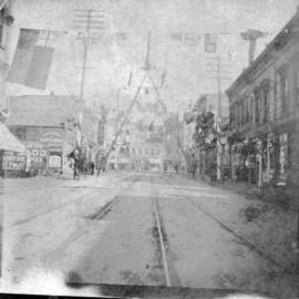 [View of the Fireman's Arch on Cordova Street for the visit of the Duke and Duchess of Cornw...