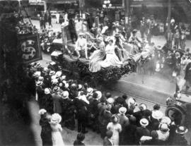 [Unidentified float in the 600 Block of Granville Street during a Victoria Day parade]