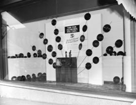 "Hudson Bay Company window [showing] ""old records"" [promotion]"