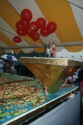 Corner of 16-foot by 20-foot birthday cake for the Centennial Commission's Canada Day celebr...