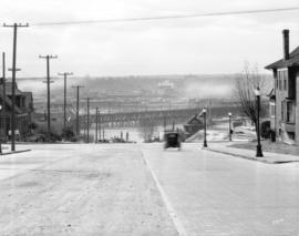 [View of Burrard Street looking south from Pacific Boulevard at the Kitsilano Railway Trestle bri...