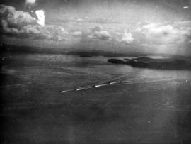 "[Aerial view of S.S. ""Prince Robert"" en route to mainland with King George VI and Queen..."