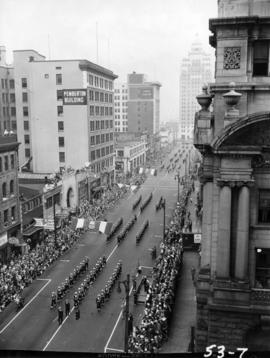 View of sailors marching in 1953 P.N.E. Opening Day Parade