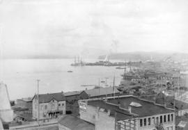[View from Hastings Street looking east towards Hastings Sawmill]