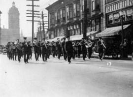 [Band procession on East Pender Street for Yip Sang funeral]