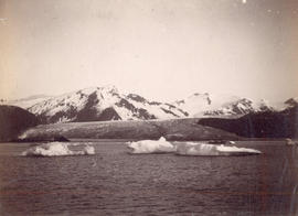 "[View of icebergs and moutain from the S.S. ""Queen""]"
